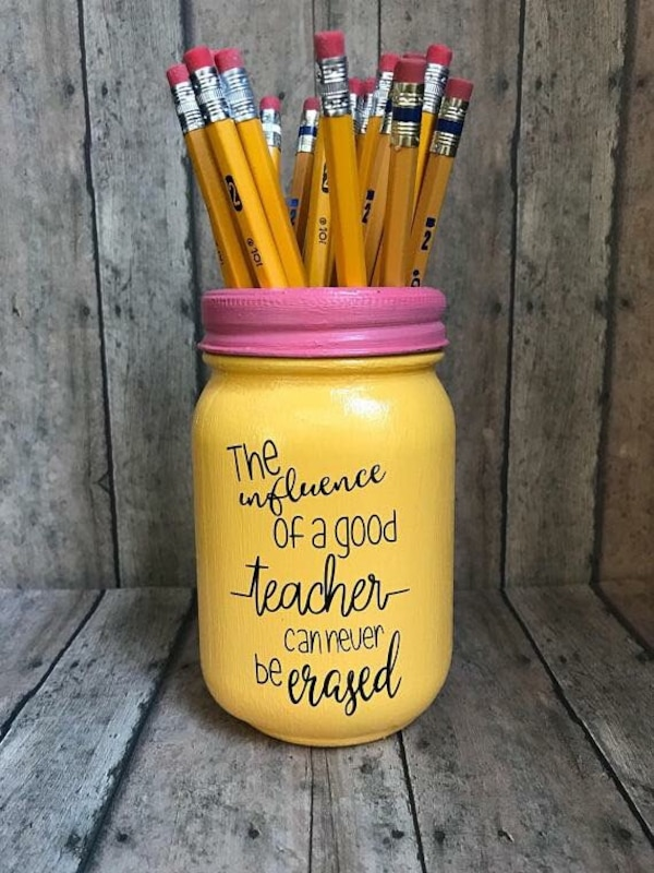 Custom made teachers pencil mason jars