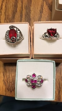 YOUR CHOICE Beautiful Red w/ Clear stone Silver Colored Rings sz 8 Oklahoma City, 73149