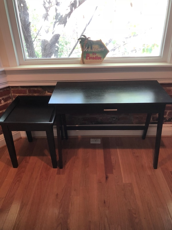 Black wooden desk with printer stand
