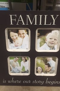 "Family photo frame approx 17""x17"" ready to hang  holds 4-4x4"" photos"