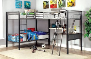 Ballarat Triple Twin Metal Bunk Bed With Desk FREE DELIVERY FINANCING