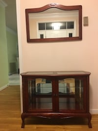 brown wooden glass display cabinet ASHBURN