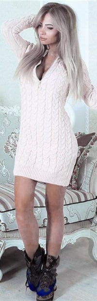 Zip Up Sweater Dress (L avail) Burnaby