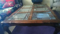 Coffee table very heavy, beveled cut glass inlay