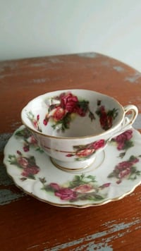 white and pink floral ceramic teacup with saucer Broadlands, 20148
