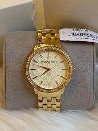 Michael Kors Women's Gold 5-Link Round Argyle Glitz Watch