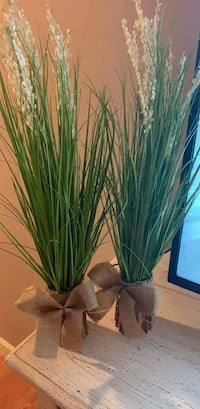 Bamboo and grass arrangement with burlap ribbon
