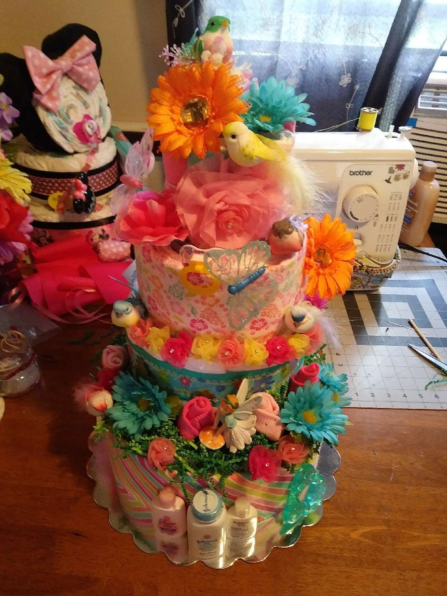 Spring time themed diaper cake
