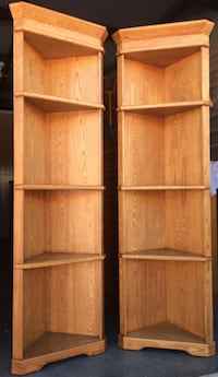 Pair of Oak Corner Bookcases / Display Shelves Lakeville, 55044
