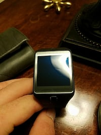 square gray and black smartwatch