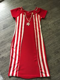 red and white striped scoop-neck sleeveless dress Surrey, V3R