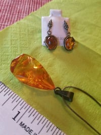 REAL AMBER 925 SILVER NECKLACE AND EARRINGS  San Diego, 92103