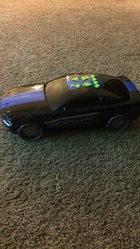 black and blue car scale model
