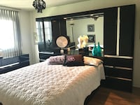 """Italian Black lacquer wueen size bedroom set with mirror details. Headboard with 2 pot lights and chest on both sides has 3 shelves, lots of storage.comes with a dresser and queen size bed frame. Headboard 16"""" D x 76"""" H x total width 112"""" . Dresser 18"""" D  Richmond Hill, L4S 1J2"""
