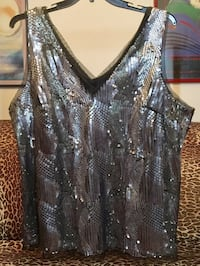 Lane Bryant Silver Sequin & Black Mesh Sleeveless Top W/ Camisole, Plus Size 20 to 22