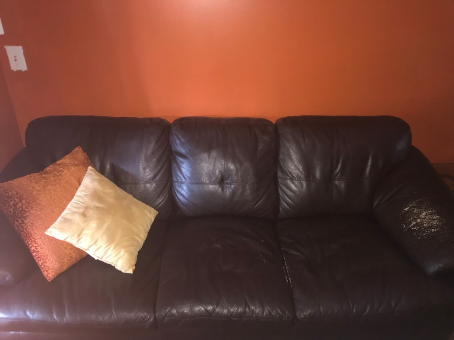 Brown Leather Love Seat/Full Couch. Pillows And A Lamp Are Free.