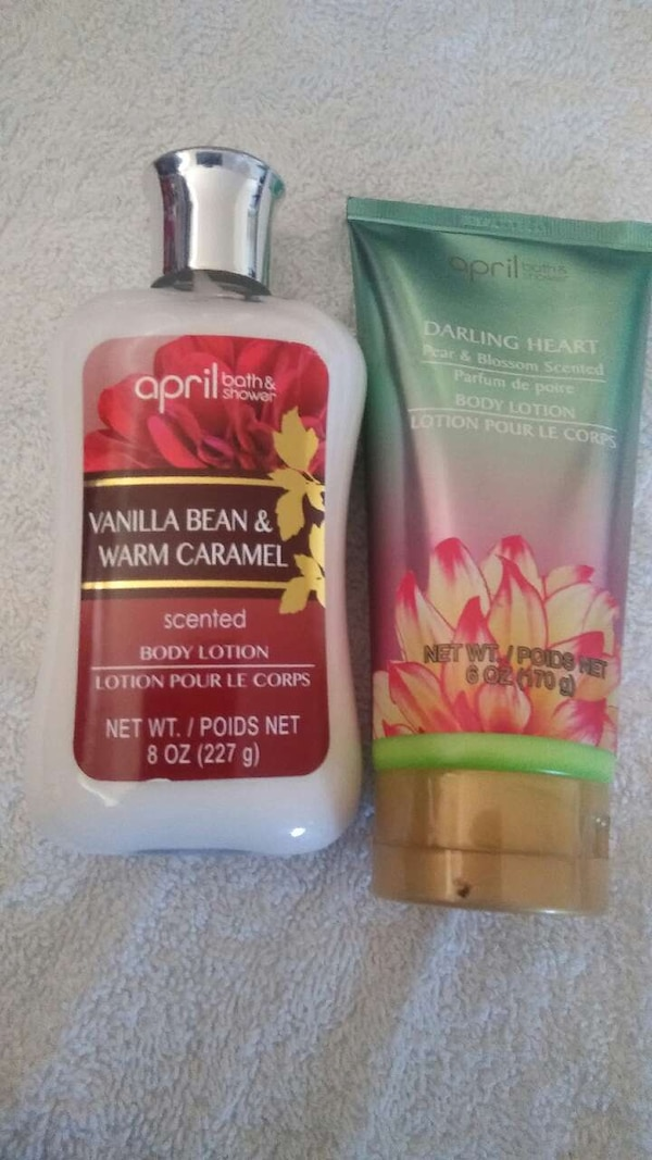 April Bath And Shower used april bath and shower vannila bean and warm caramel body lotio