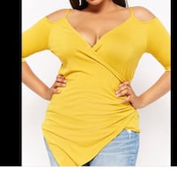 plus size surplice open shoulder top