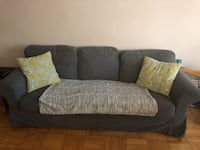 Couch 3 seat. Grey fabric.  Toronto, M5N 1K9