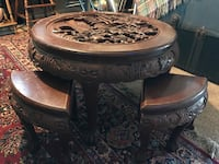Antique hand carved tea table