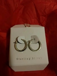 .925 sterling silver small hoops with stones Valley Stream