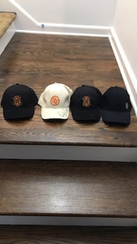 Three assorted color fitted caps