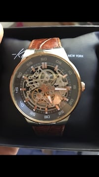 Kenneth Cole Round gold-colored chronograph watch with brown leather strap 165 mi