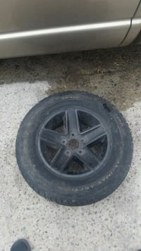 black 5-spoke car wheel with tire Toronto, M6N 3R4