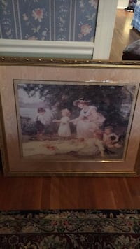 brown wooden framed painting of white and pink flowers Olney, 20832