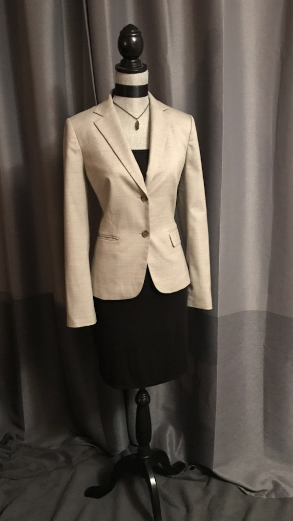 White and black button-up coat