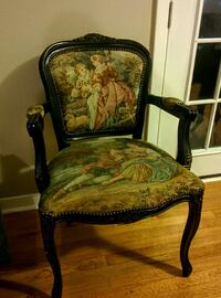 brown wooden framed green and brown floral padded armchair 1200 mi