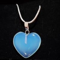 Sterling silver genuine opal light heart necklace Baltimore