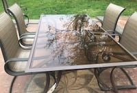 Rectangular clear glass top table with four chairs patio dining set pick up Philadelphia, 19111