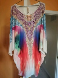 women's multicolored floral long-sleeved dress 538 km