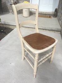 white and brown wooden chair