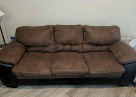 Brown Fabric & Faux Leather Couch