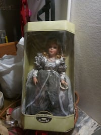 doll wearing long-sleeved dress with box Hemet, 92545