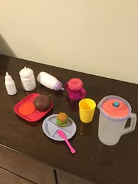 Toy baby bottles, dishes, food