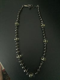 """Smoky Quartz"" & ""Green Prehinite"" Glass Bead Necklace"