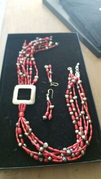 Red stone handmade necklace and matching earrings  Yonkers, 10701