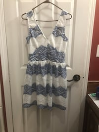 women's white and blue floral sleeveless dress Vancleave, 39565
