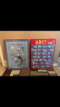 Dr. seuss the cat in the hat and alphabet posters with red frames Saint Charles, 63304