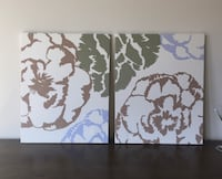 Vintage Marimekko Cotton Covered Canvas Panels Prints Floral Brown Blue Green Ashburn, 20147