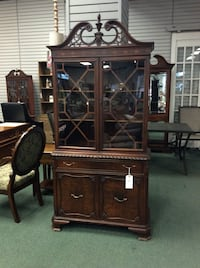 "Federal Style China Cabinet with carved Pediment 37.5""W x 16.5""D x 78""H Heath, 43056"