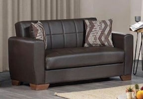BRAND NEW BROWN PU LEATHER LOVESEAT WITH UNDERNEATH STORAGE Adjustable