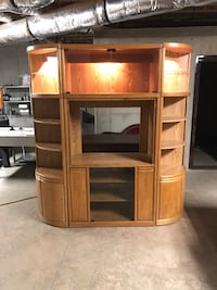 Lighted 3 Section Wood Entertainment Center