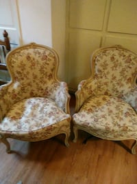 two brown and white floral padded armchairs Silver Spring, 20906