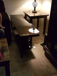 square brown wooden based marble top table