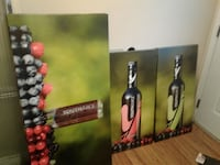 three bottles painted boards