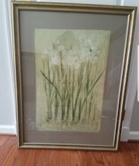 brown wooden framed painting of white flower Ashburn